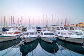 Boats, docked in marina, Piran, Slovenia