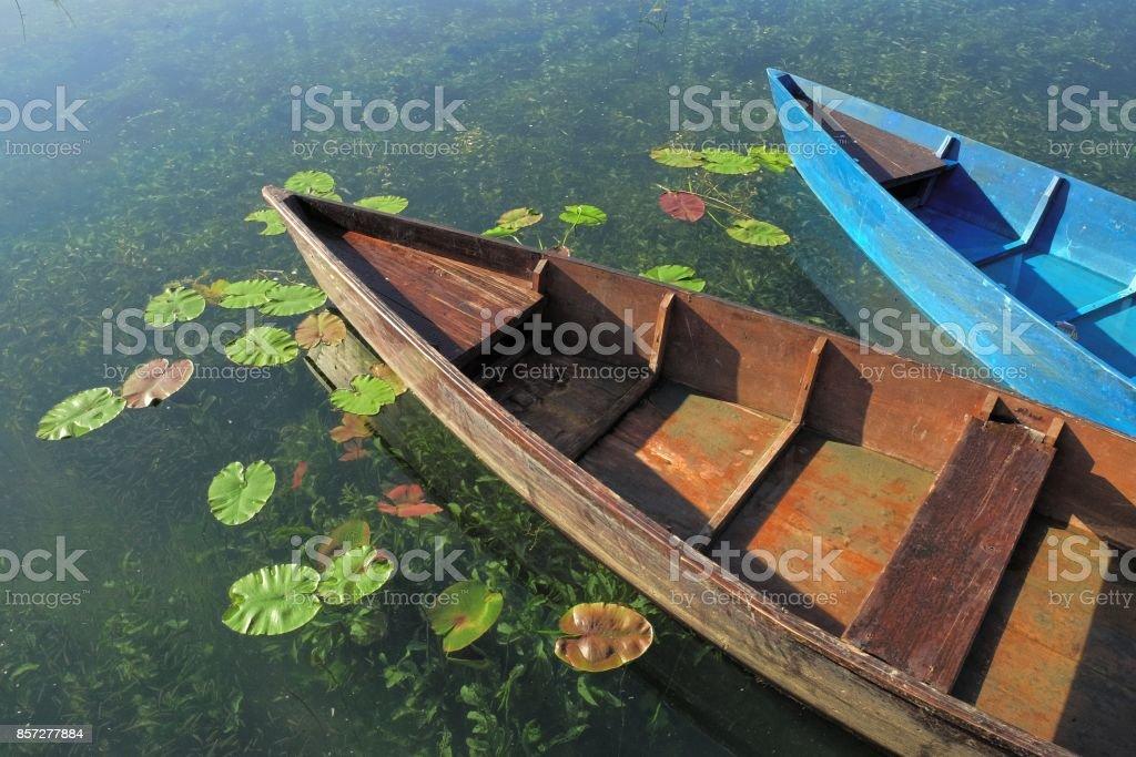 Boats Docked On Plav Lake, Montenegro stock photo