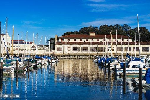 Boats docked at a port in San Francisco, CA, USA