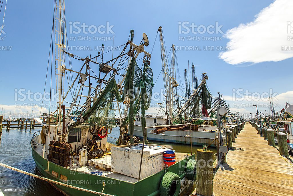 boats for shrimps fishing in Pass Christian stock photo