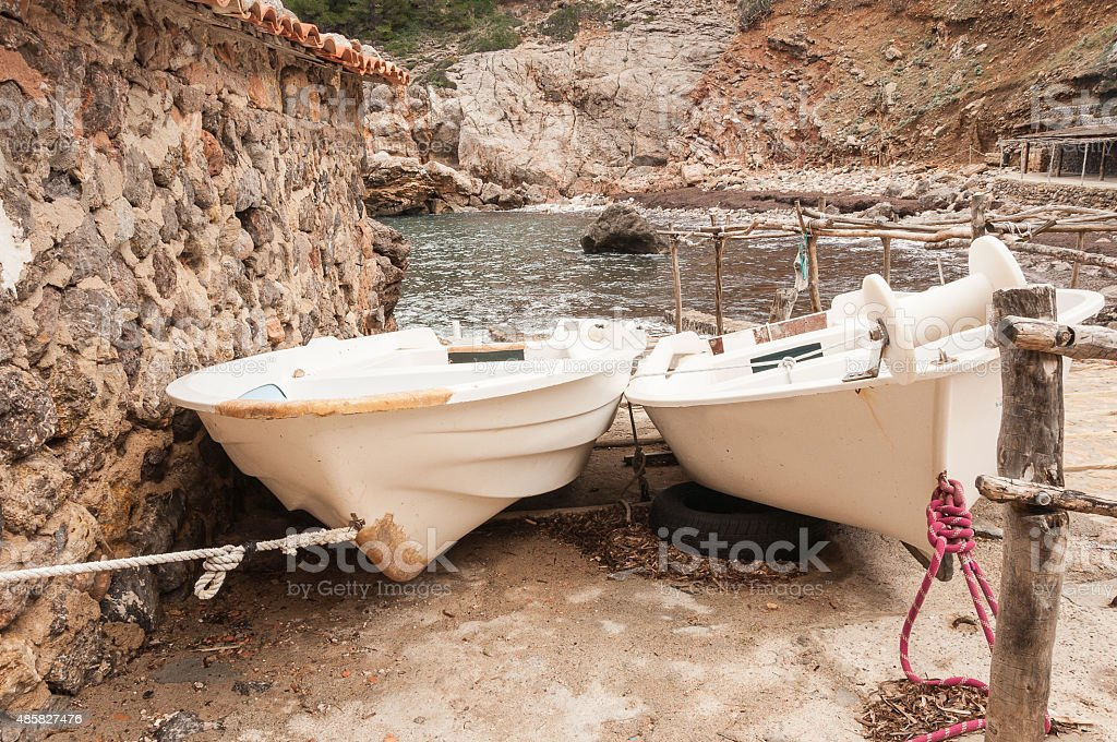 Boats in a cove stock photo