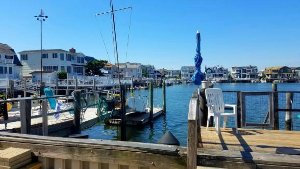 Boats in a Harbor Setting/Community in Summer stock photo