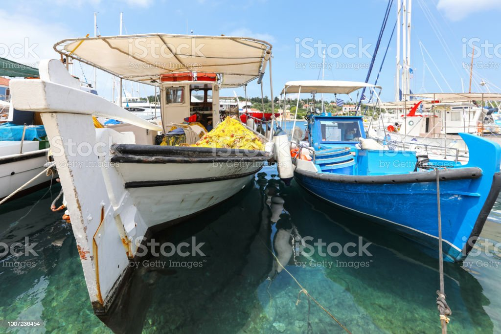 Boats in a turquoise sea stock photo