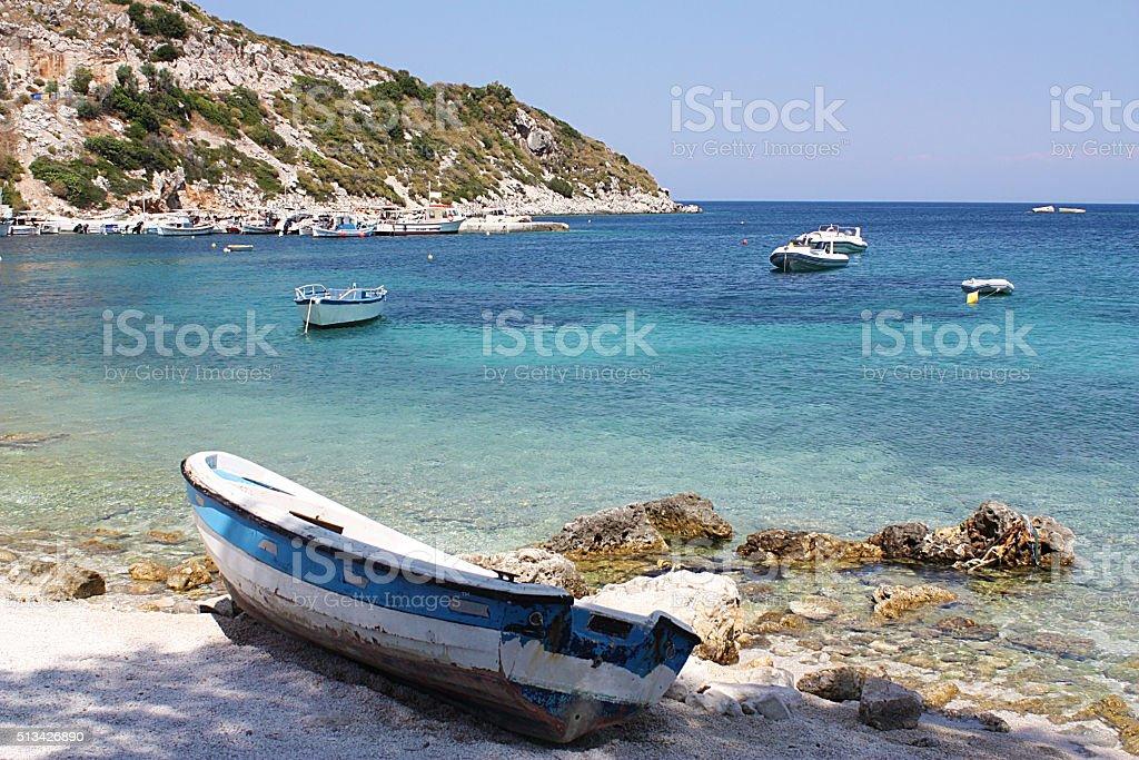 Boats in Agios Nikolaos, Zakynthos Island, Greece stock photo