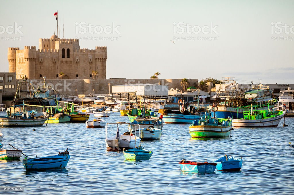 Boats in Alexandria, Egypt stock photo