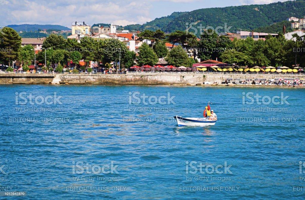 Amasra Beach tekneler stok fotoğrafı