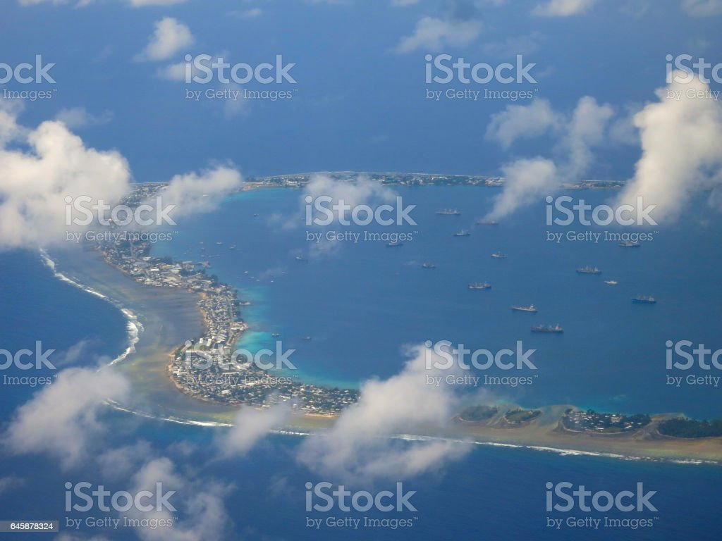 Boats In Atoll stock photo