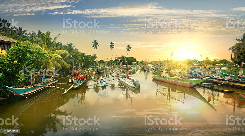 Boats in bay stock photo