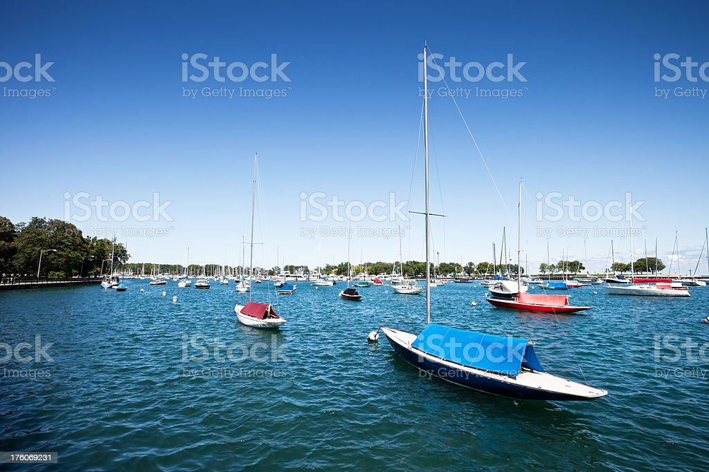 Boats in Belmont Harbor Chicago royalty-free stock photo