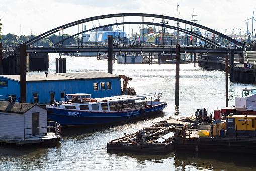 boats in Binnenhafen pier in Hamburg city