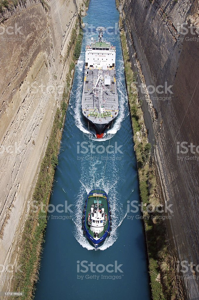 Boats in Canal of Corinth stock photo