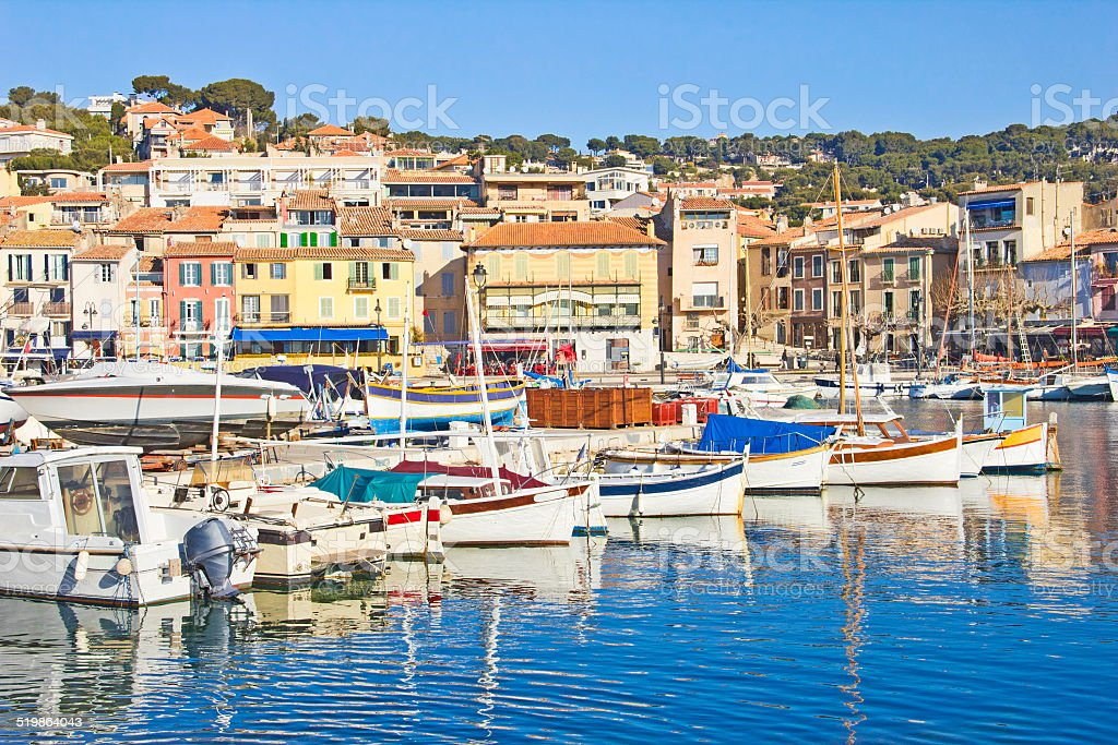 Boats in Cassis, France stock photo