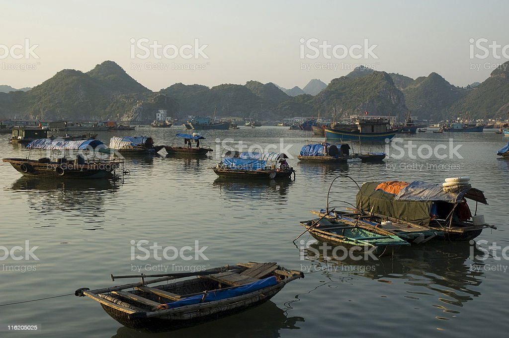 Boats In Cat Ba Harbour (Halong Bay) Vietnam royalty-free stock photo