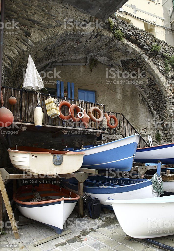 boats in cinque terra harbour italy royalty-free stock photo