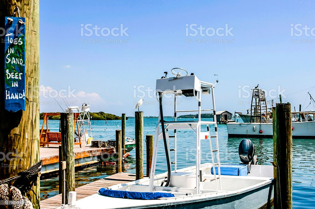 Boats in Cortez docks in Sarasota Bay Florida stock photo