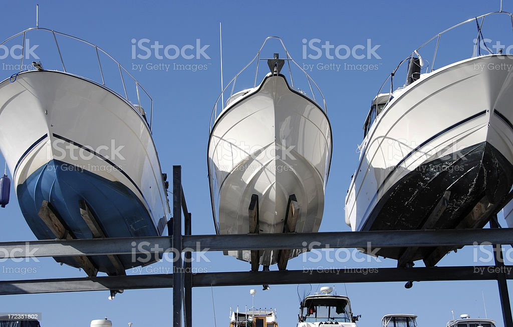 boats in dry moorage royalty-free stock photo