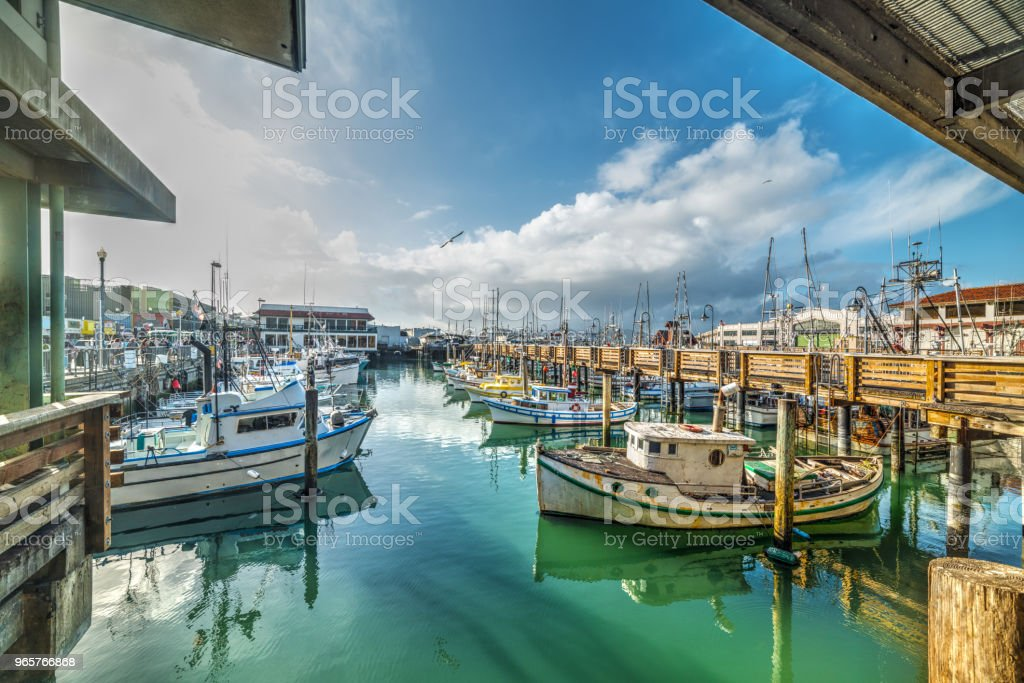 Boats in Fisherman's wharf in San Francisco - Royalty-free Ao Ar Livre Foto de stock
