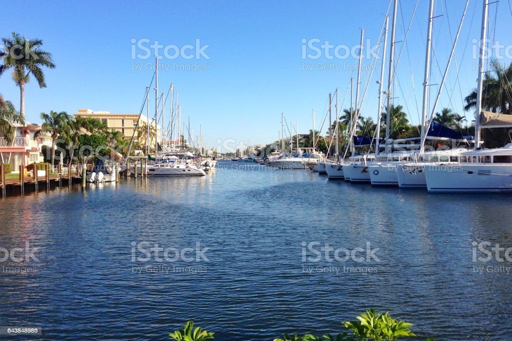 Boats in Fort Lauderdale, Florida stock photo