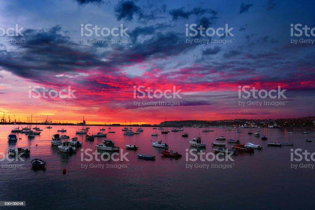 boats in Getxo at twilight stock photo