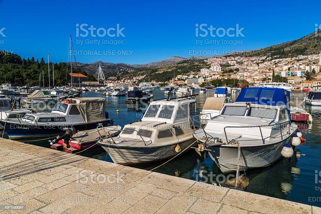 Boats in Gruz city harbor in Dubrovnik stock photo