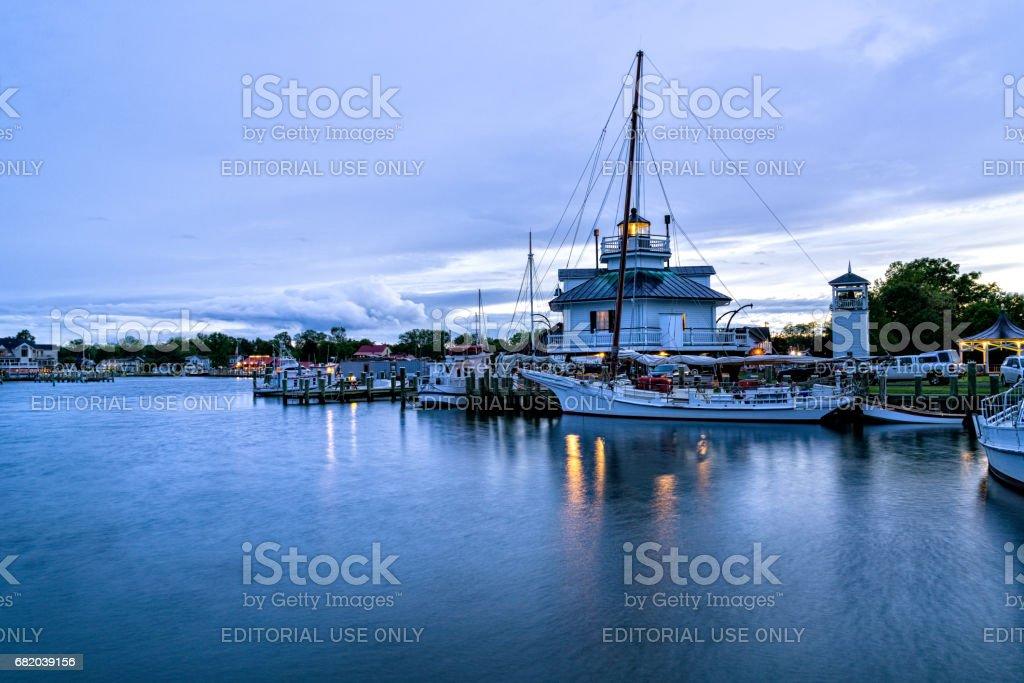 Boats in Harbor at Dusk Saint Michaels Maryland stock photo