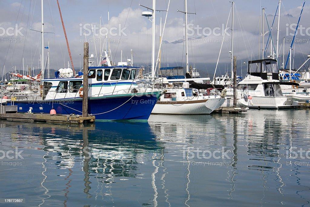 Boats in harbor at Seward, Alaska royalty-free stock photo