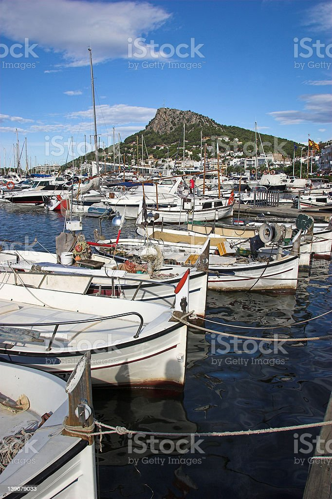 boats in harbour royalty-free stock photo
