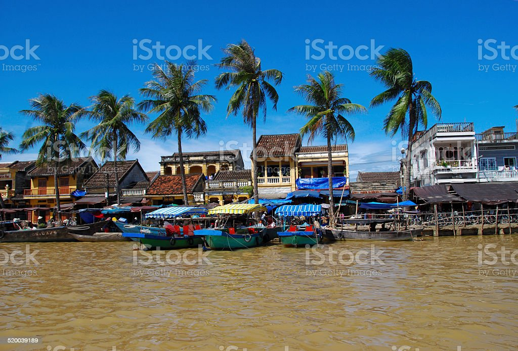 Boats in Hoi An harbour, Vietnam stock photo