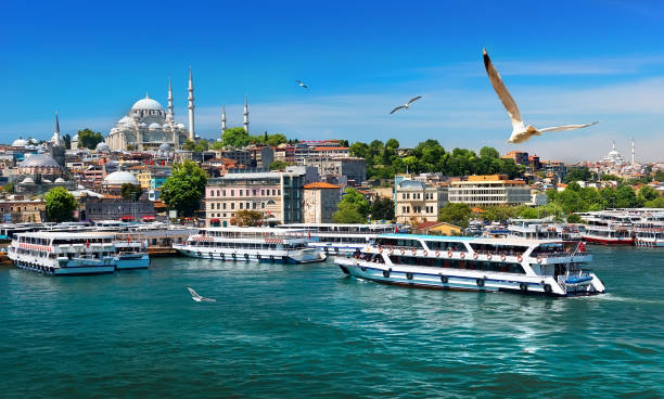 Boats in Istanbul Touristic boats in Golden Horn bay of Istanbul and view on Suleymaniye mosque, Turkey bosphorus stock pictures, royalty-free photos & images