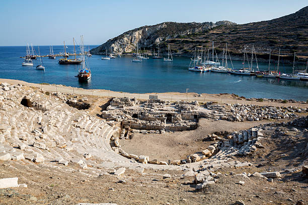 Boats in Knidos, Mugla, Turkey stock photo
