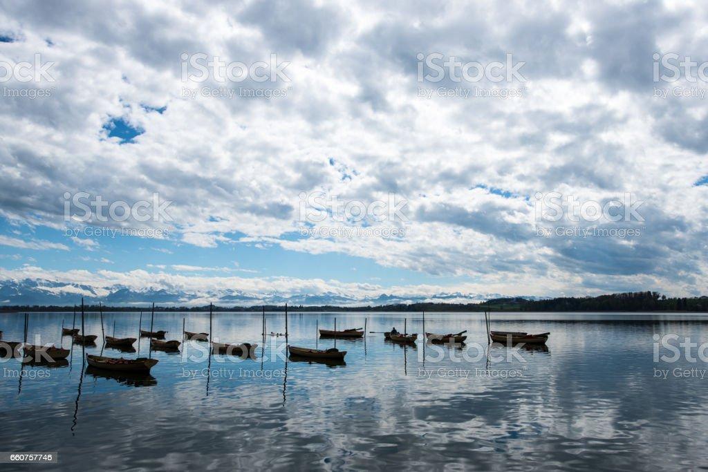 Boats in lake pfaeffikon in switzerland stock photo