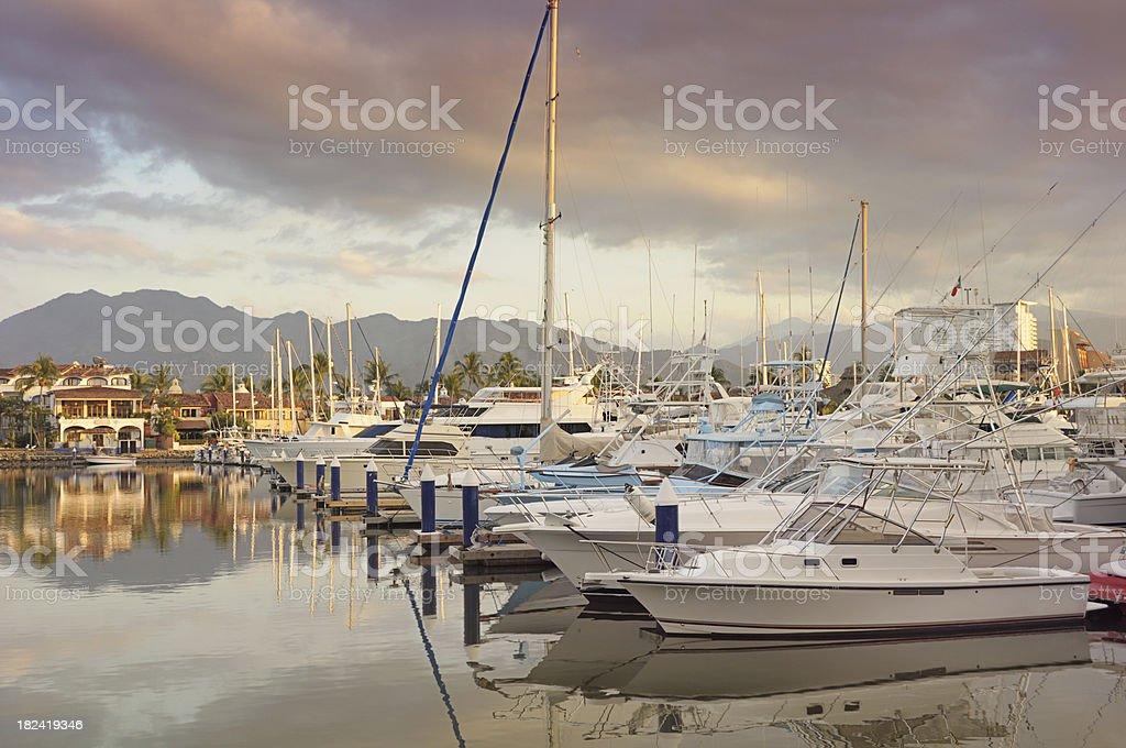 Boats in Marina at Sunset, Horizontal royalty-free stock photo