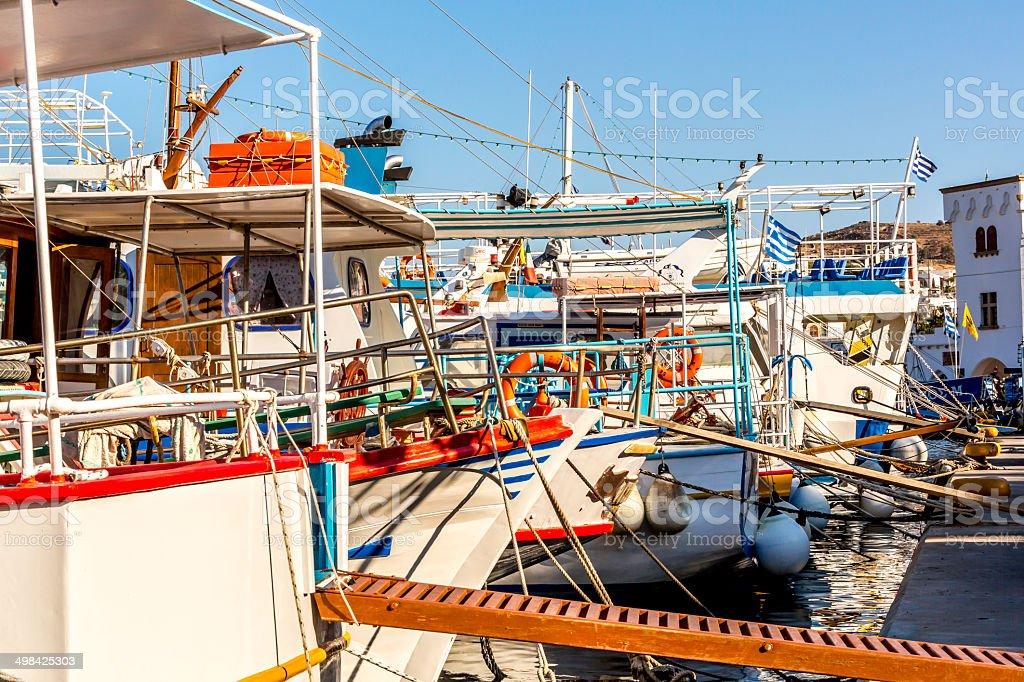 Boats in marina royalty-free stock photo