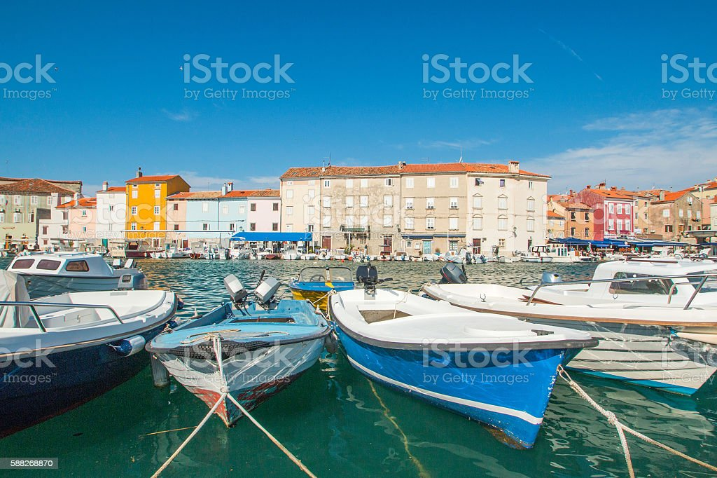 Boats in marine in town of Cres, waterfront, Croatia - Photo
