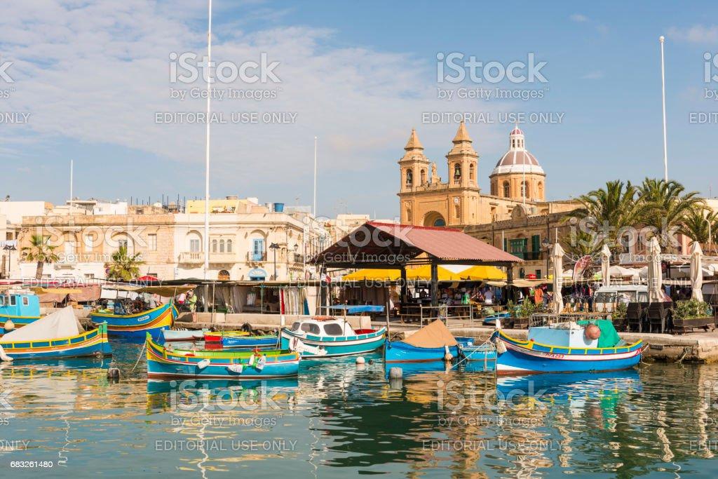 Boats in Marsaxlokk harbor, Malta royalty-free stock photo