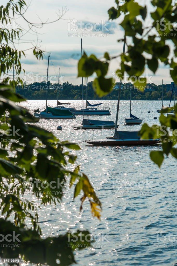 Boats in Minnetonka lake stock photo