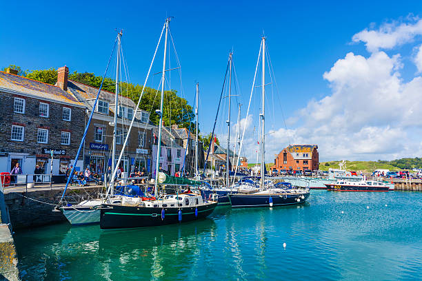 boats in Padstow traditional fishing harbour at  Cornwall Padstow traditional fishing harbour at  Cornwall esplanade theater stock pictures, royalty-free photos & images