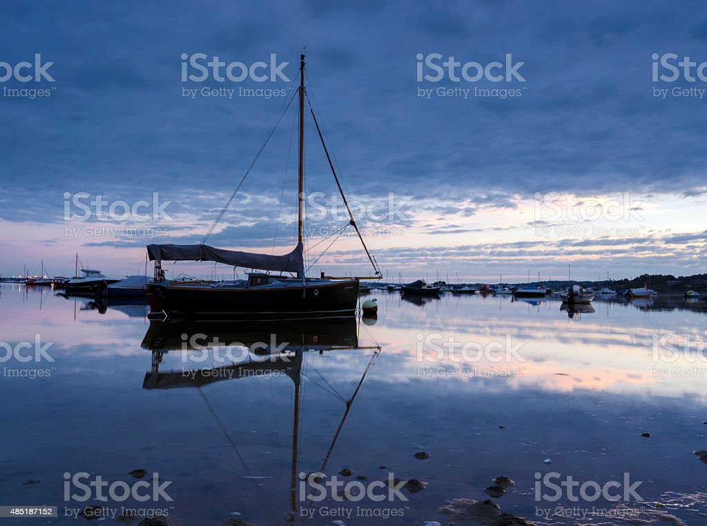 Boats in Poole Harbour stock photo