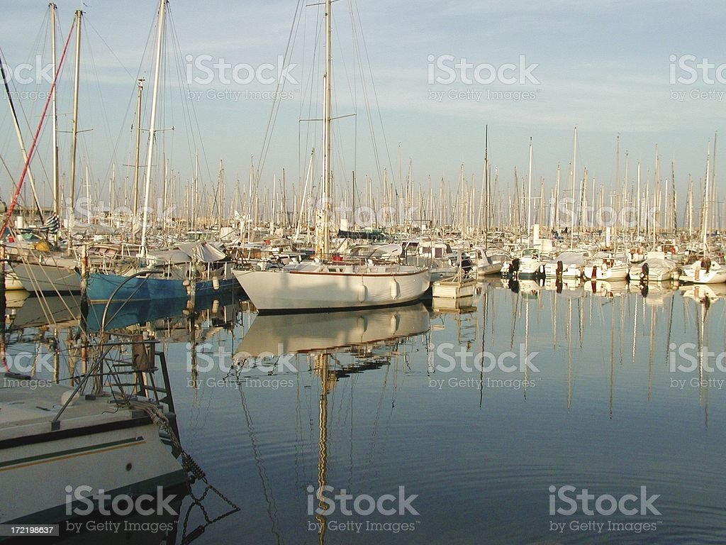boats in port of palavas les flots stock photo