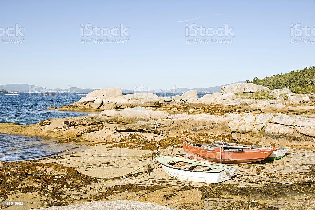 boats in Rias Baixas, Galicia, Spain royalty-free stock photo