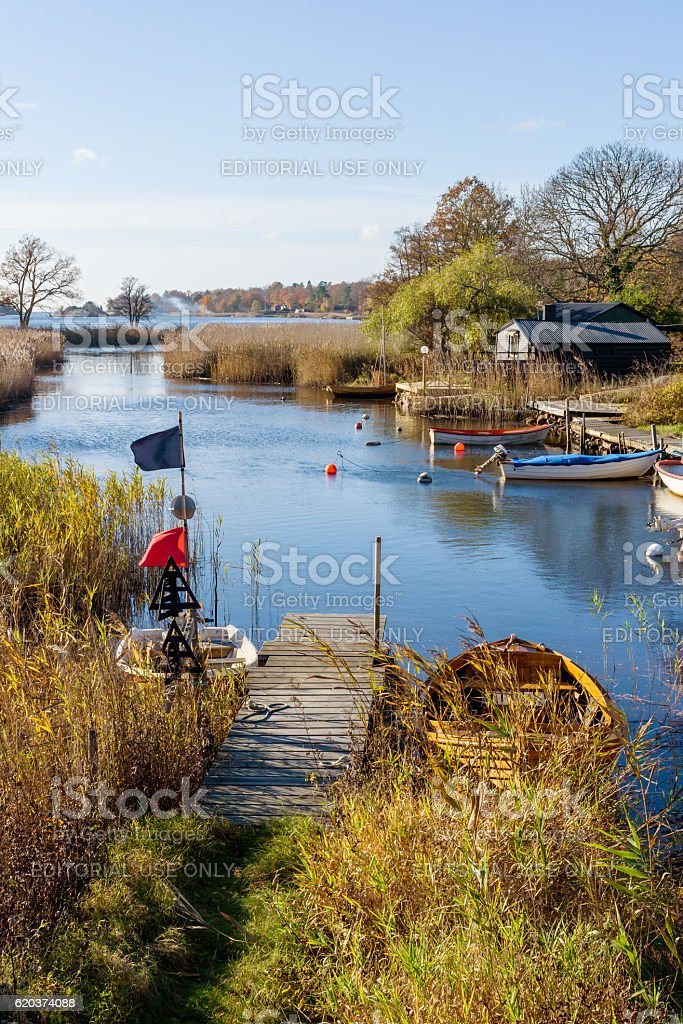 Boats in river mouth foto de stock royalty-free