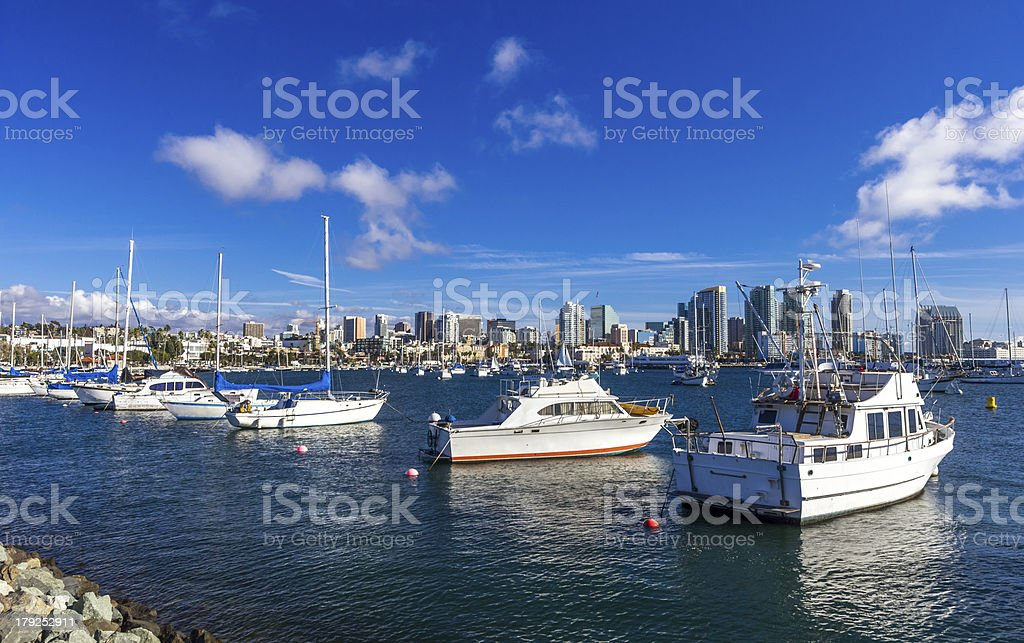 boats in San Diego harbor royalty-free stock photo