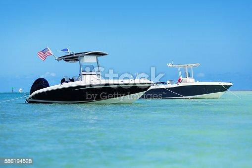 Small boat in a sandbar