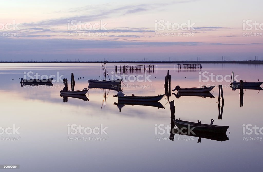 Boats in Scardovari Valley royalty-free stock photo