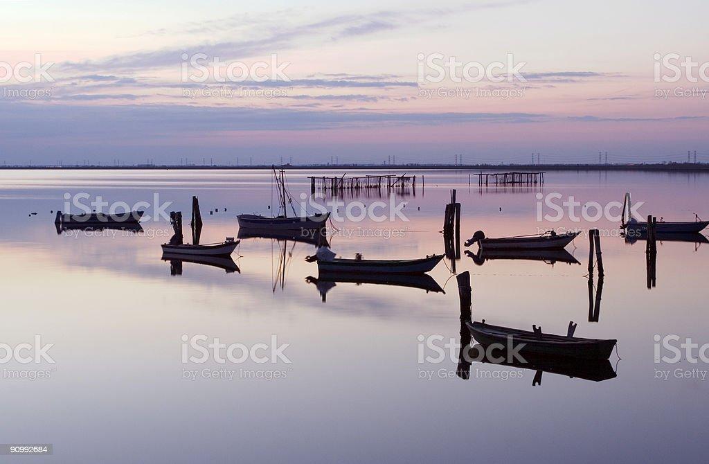 Boats in Scardovari Valley stock photo