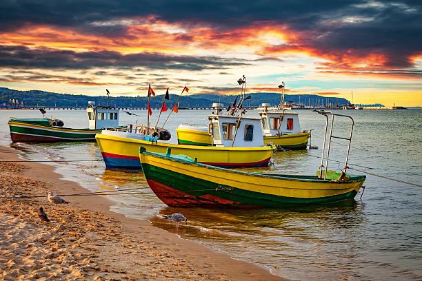 Boats in Sopot, Poland stock photo