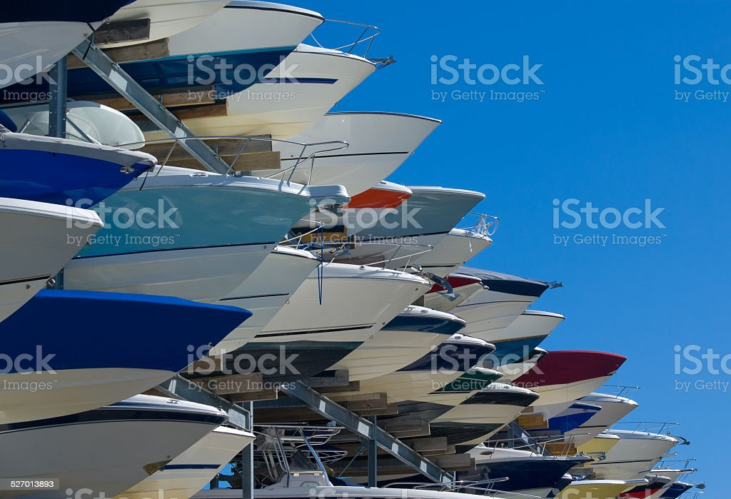 Boats in storge stock photo