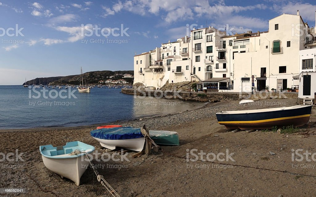 Boats in the beach, Cadaques, Spain royalty-free stock photo