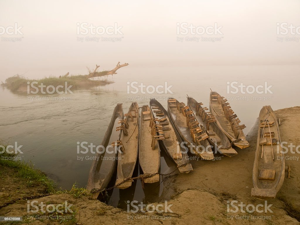 Boats in the fog royalty-free stock photo
