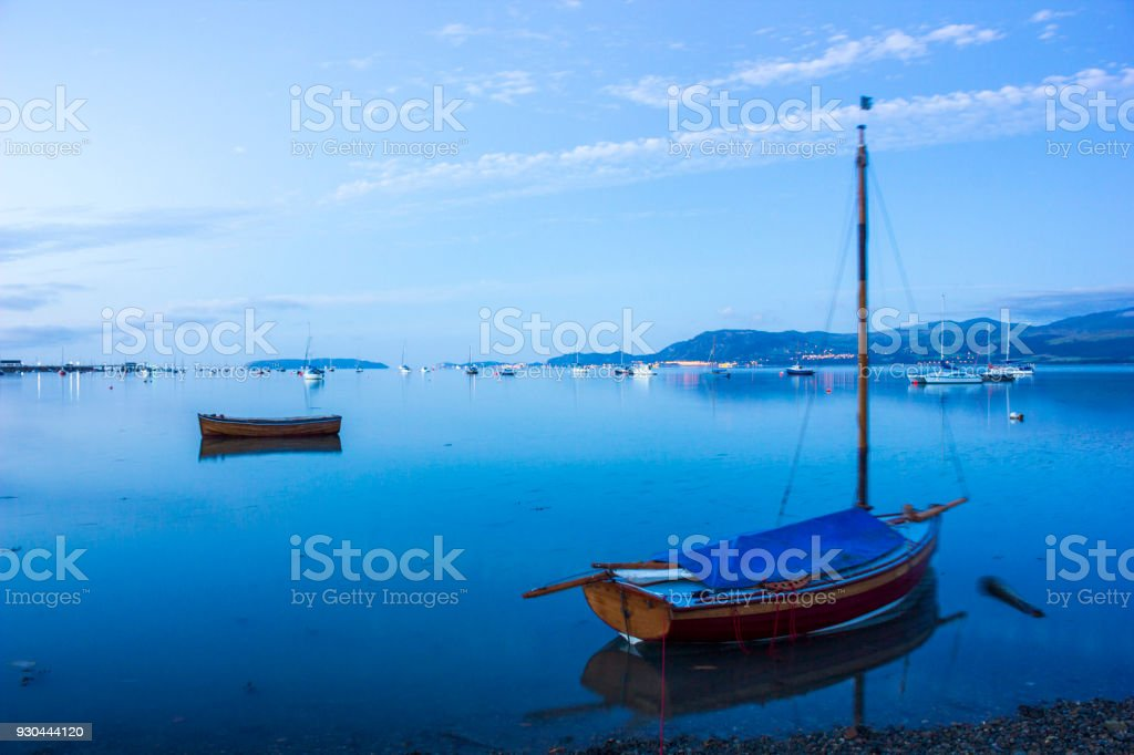 Boats in the Harbour at Beaumaris in Anglesea, Wales, UK stock photo